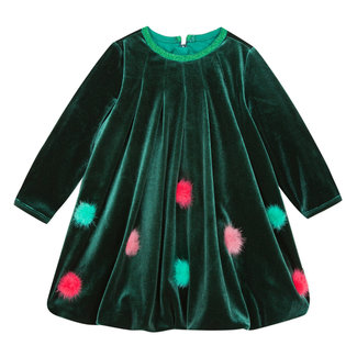 Velvet bubble hem dress with pompoms