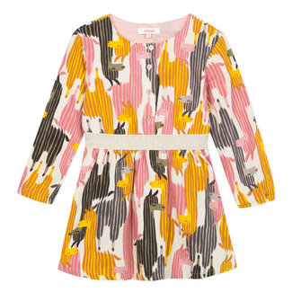 Graphic llama print crepe cotton dress