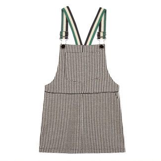 Tubular knit houndstooth pinafore