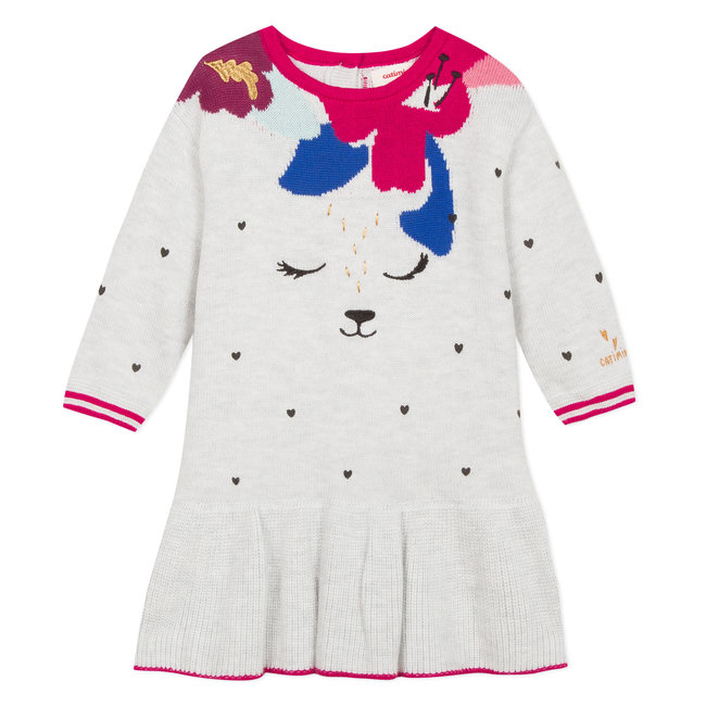 Mottled pullover dress with jacquard deer pattern