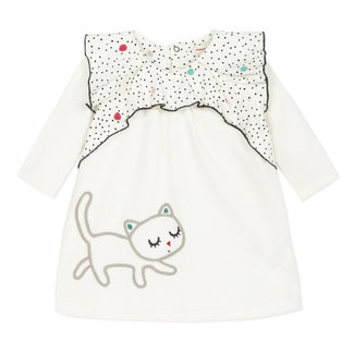 Velvet dress with cat embroidery