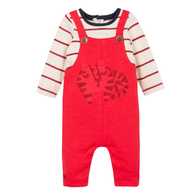 2-in1 faux long dungaree jumpsuit in red