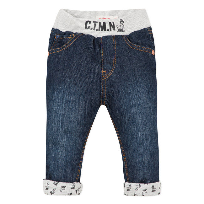 Stone-washed lined denim with an elasticated waist