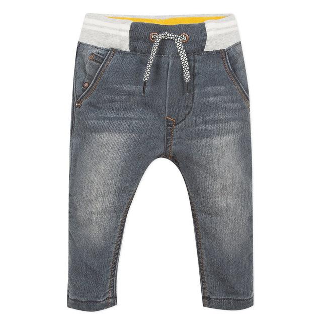 Grey denim knit jeans with an elasticated waist