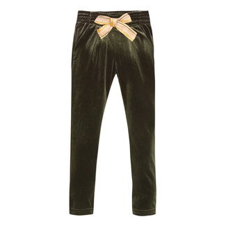 Khaki velvet trousers with knot