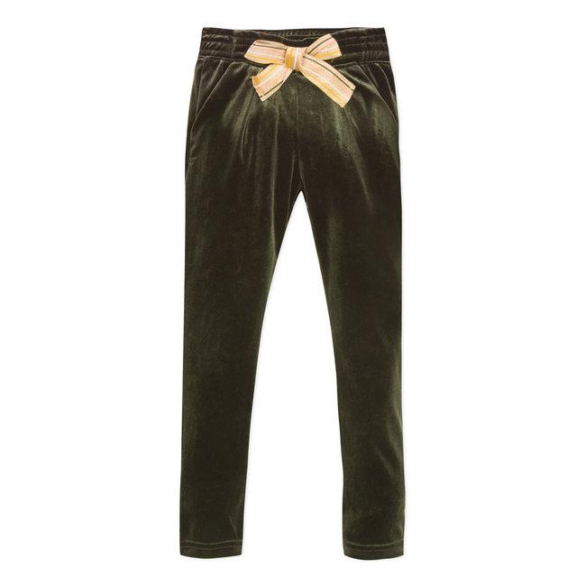 Khaki velvet trousers with knot