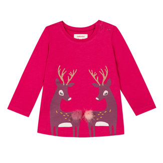 Fuchsia T-shirt with fawn pattern