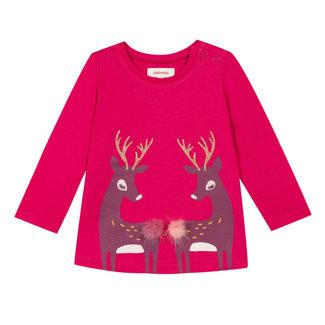 Fuchsia T-shirt with fawn pattern
