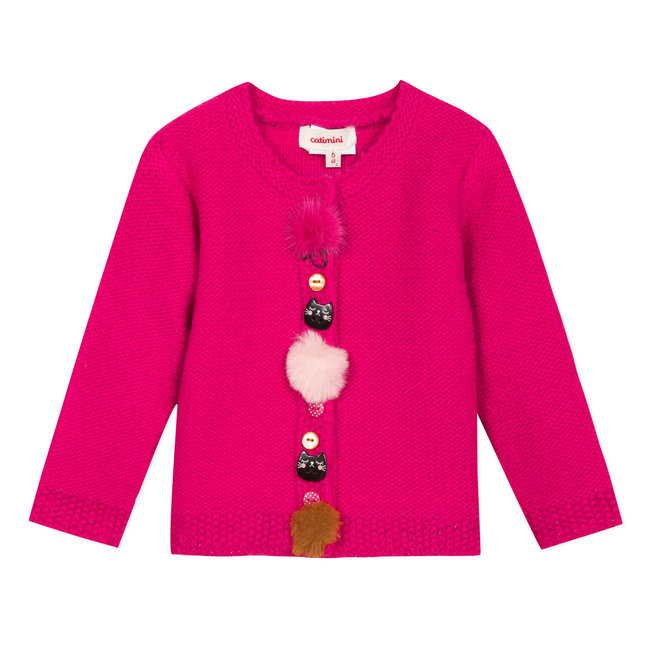 Fuchsia pink knitted cardigan with decorative buttons