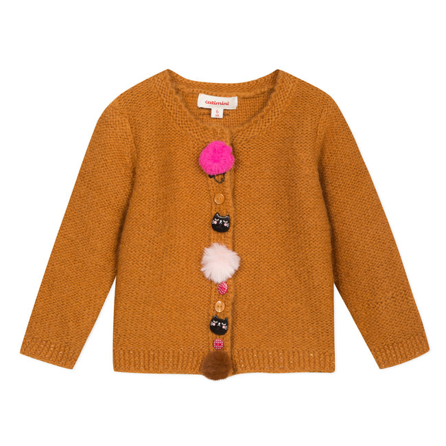 Camel knitted cardigan with decorative buttons