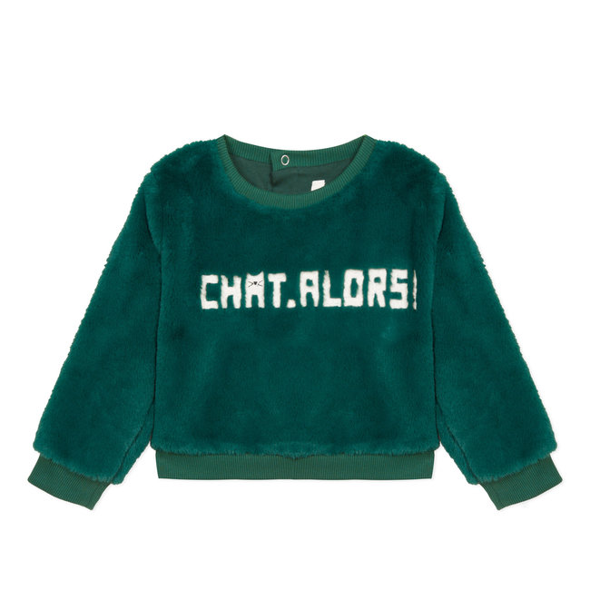 CATIMINI Bottle green fur sweatshirt with text