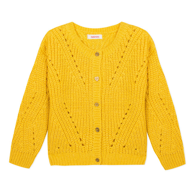 Large gilet in a yellow open knit