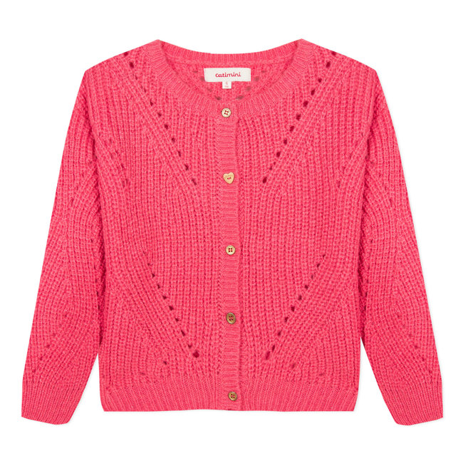 Large gilet in a raspberry pink open knit