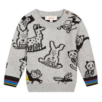 Mottled jacquard llama pullover