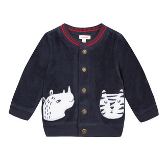 Velvet knitted cardigan with embroidered animal patches