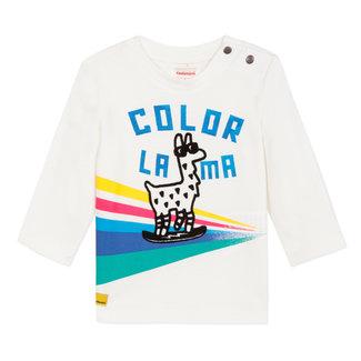 Rainbow llama motif T-shirt