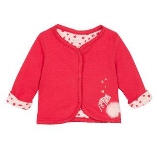 Reversible mini animal print velvet and jersey cardigan