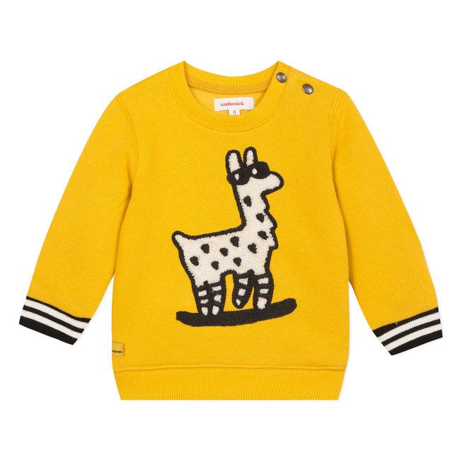 Llama yellow fleece sweatshirt