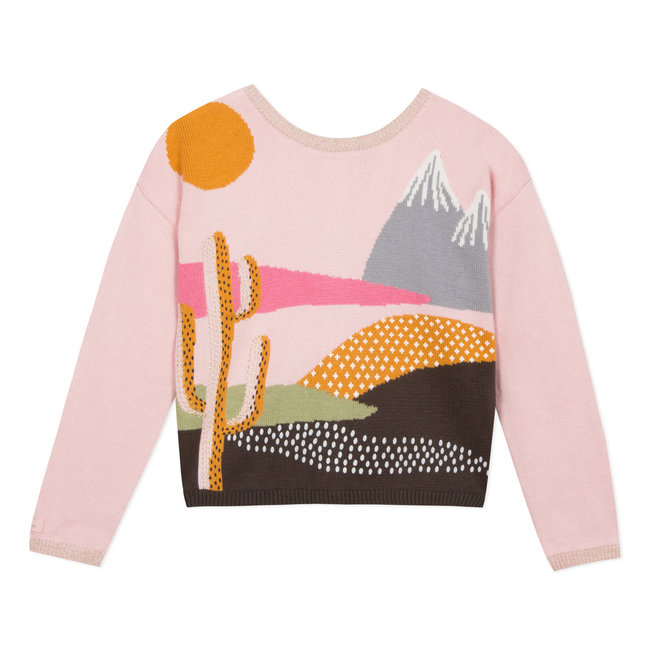 Reversible jacquard cardigan with graphic landscape
