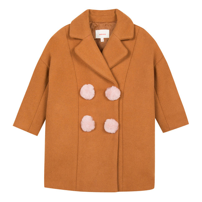 Camel wool jacket with pompoms