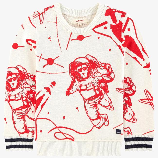 Ivory space mission printed fleece sweatshirt