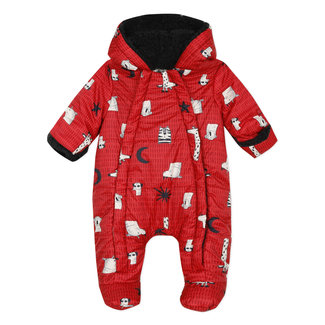 Animal print, faux fur lined all-in-one baby suit