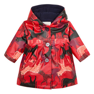Rubber parka with panther print