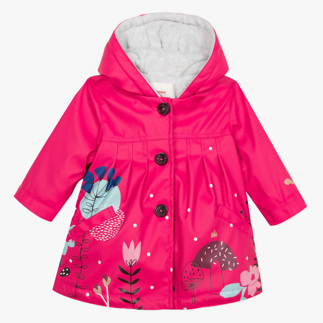 Pink resin parka with fuchsia floral pattern