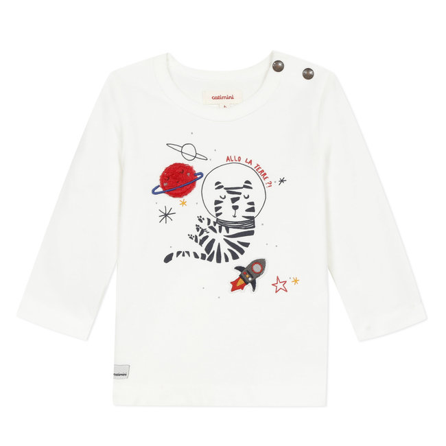 T-shirt with astronaut tiger motif