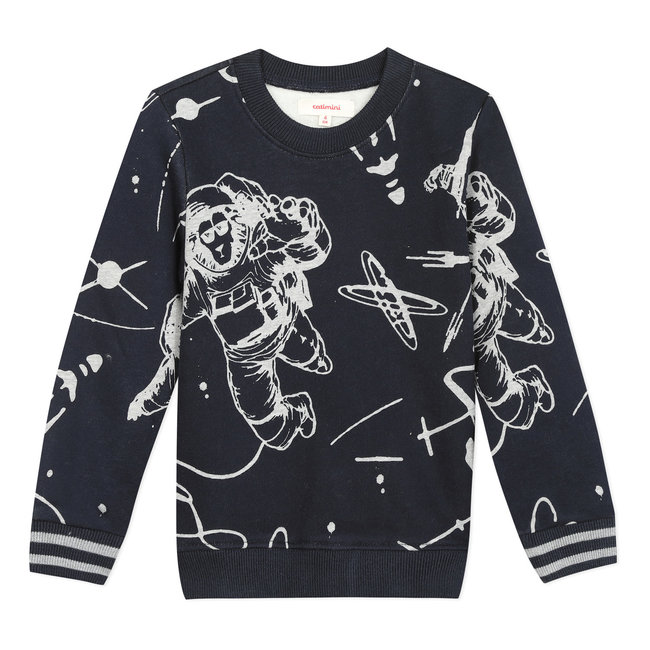 Ink blue space mission printed fleece sweatshirt
