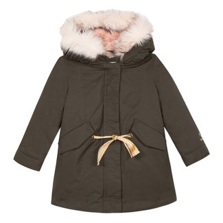 Khaki coated parka with fur lining and terry cloth picture embroidered onto the back