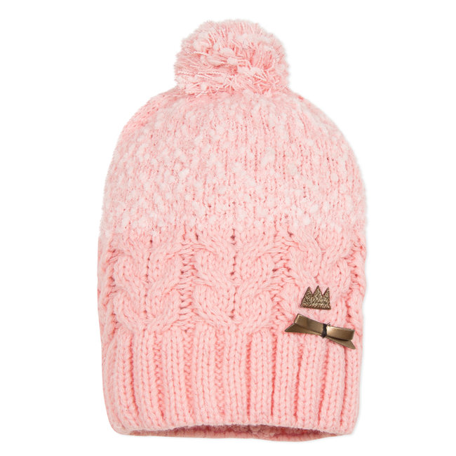 Powder pink knitted hat with pompom