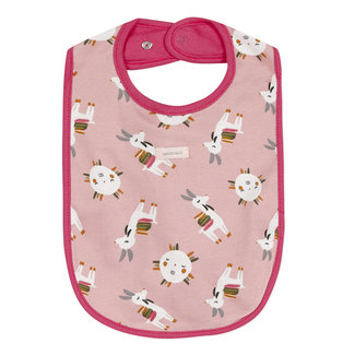 Llama print and raspberry pink double face bib
