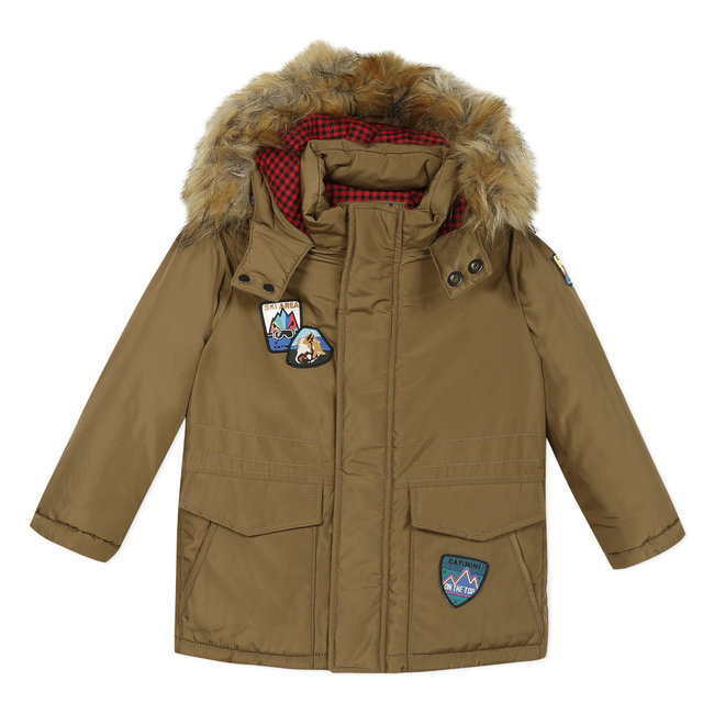Bronze coated parka with a fur hood
