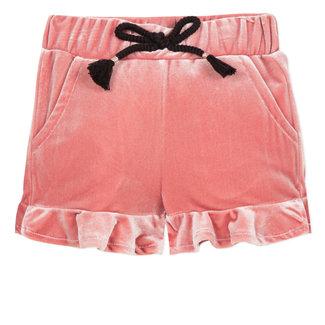 Ruffled shorts in knit velvet marshmallow pink