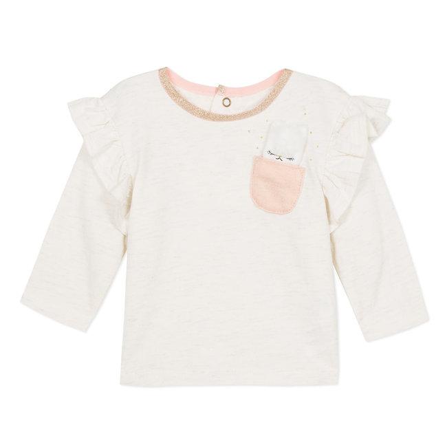 CATIMINI Glitter slub T-shirt with ruffles