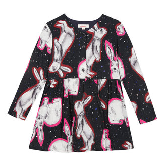 Viscose dress with rabbit print