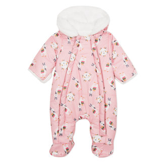 Llama print faux fur lined all-in-one baby suit