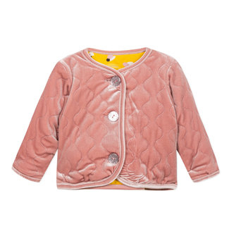 Reversible quilted velvet cardigan with printed fleece