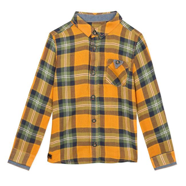 Yellow gingham checked shirt