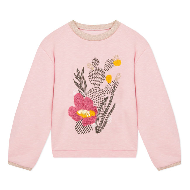 Pink fleece sweatshirt with terry embroidery and sequins