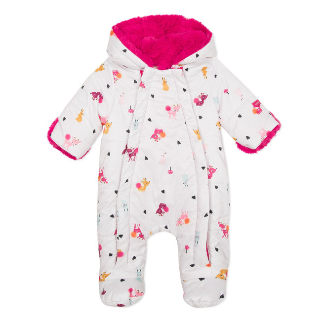 Deer print, fur lined all-in-one baby suit