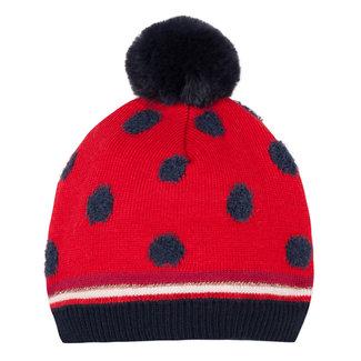 GIRLd polka dot knitted hat with pompom