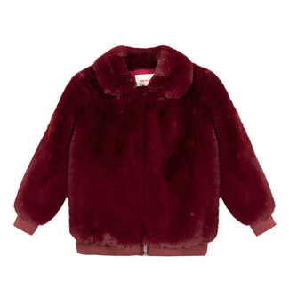 Bomber jacket in cherry red faux fur