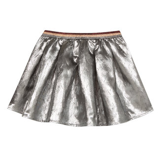 Reversible skirt in silver jacquard