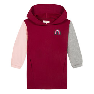 Two-tone fleece dress with a fun hood