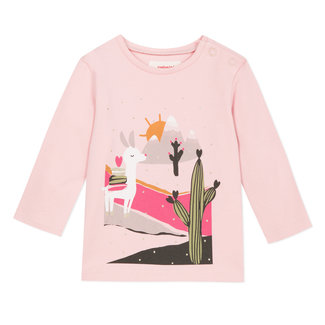 Powder pink T-shirt with llama