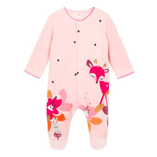 Terry velvet pyjamas in powder pink with deer pattern