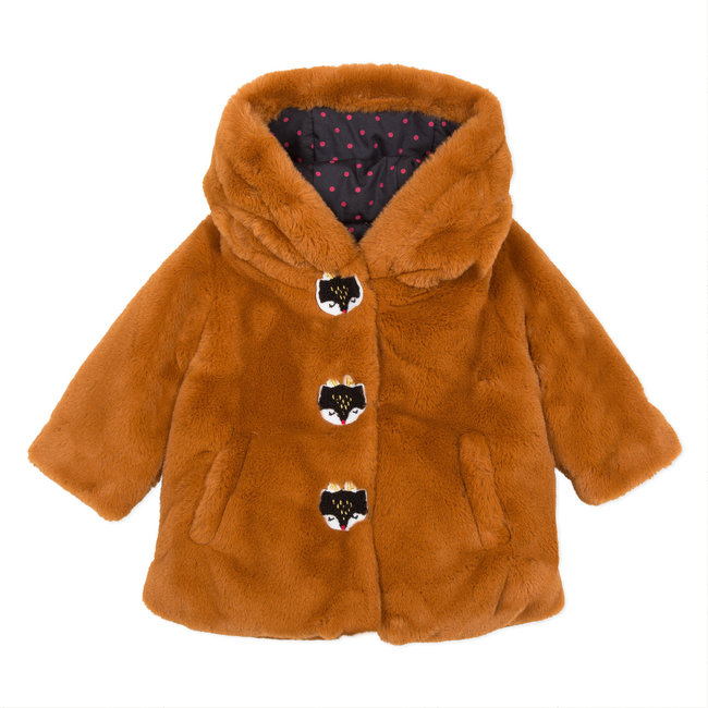 Camel faux fur coat with deer patch
