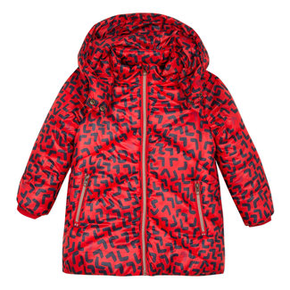 Mid-length satin finish puffa jacket with abstract print